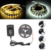 DC12V Non-Waterproof SMD3528 5M 300 LED Strip Rope Light with Power Adapter DC Connector