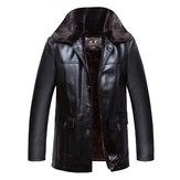 Mens Winter Velvet Plus Thick Warm Stylish Motor PU Leather Jackets Large Fur Collar Parka Coat