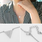 S925 Sterling Silver Zircon Pendant Triangle Short Clavicle Necklaces For Women