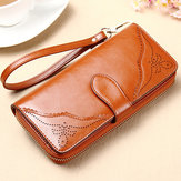 Retro Genuine Leather Hollow Carved Long Wallet 5.5 inch Phoen Clutch Coin Card Holder
