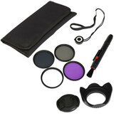 58mm UV FLD CPL Polarizing ND4 Filter Kit With Lens Hood Cap For Canon Sony Camera