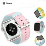 BASEUS Soft PU Leather Watchband Strap Steel Buckle Wristband For Apple Watch 38mm 42mm