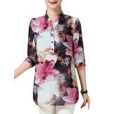 Elegant Women Half Sleeve Button Ink Printing Party Work Blouse