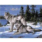 Wolf DIY Oil Painting By Numbers Digital Oil Painting Kits Frameless Canvas Home Wall Decor Gift 40x50cm