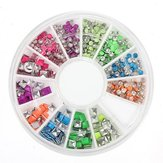 6 Color 3D Neon Stud Rhinestone DIY Nail Art Decoration Wheels