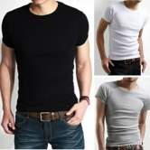 China Wholesale Men's Slim Crew Neck Solid Cotton Blend Short Sleeve Tee T-shirt