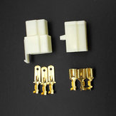 Motorcycle Scooter Male Female 3 Way Connectors 6.3mm Terminal