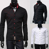 Solid Color Slim Fit Casual Men Dress Business Long Sleeve Shirts