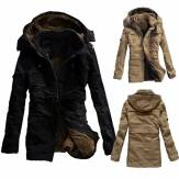 Men Outdoor Coat Thicken Cotton-Padded Hoodie Jacket Large Size S-3XL