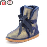 MO New Women Winter Suede Keep Warm Suede Slip-on Flat Mid-Calf Boots Snow Boots