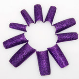 Dark Purple Acrylic Glitter French False 3D Nail Art Tips