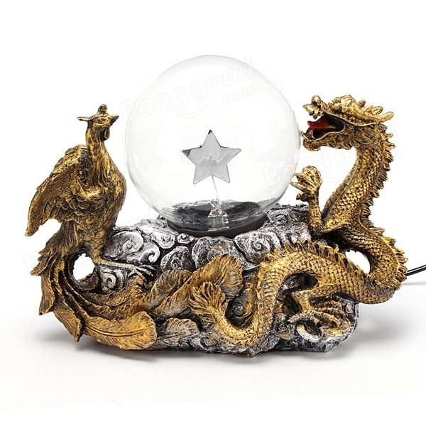 Gold Dragon Phoenix Base Plasma Ball