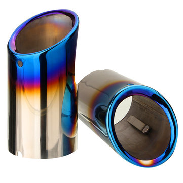 Pair Bluing Muffler Exhaust Tail Pipes Tips For BMW E90 E92 328i 325i 3 Series