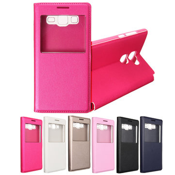 Single Window Flip Synthetic Leather Case Cover For Samsung Galaxy On5
