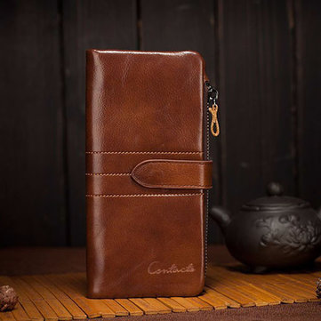 Men Leather Clutch Wallet Genuine Leather Vintage Wallets With Coin Purse and Card Holder