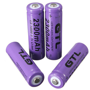 4Pcs GTL 3.7V 2300mAh 14500 Rechargeable Li-ion Battery