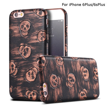 Stylish Skull Pattern Slim Soft PU Leather Case Retro Color Case Cover For iPhone 6Plus/6sPlus 5.5