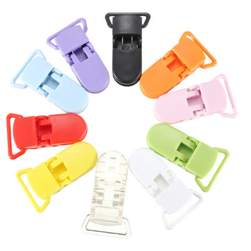 10pcs KAM Plastic Pacifier Clips Cute Suspender Buckle Soother Nipple Toy Dummy