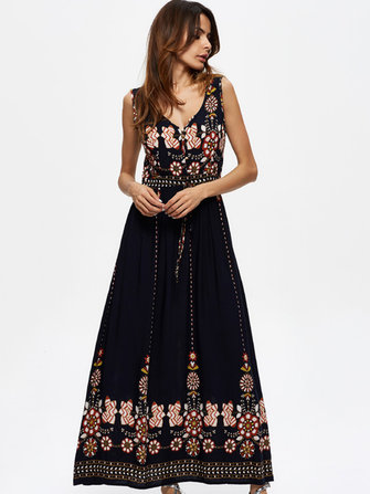 Bohemian Women Floral Printed Sleeveless V-Neck Hight Waist Maxi Dresses
