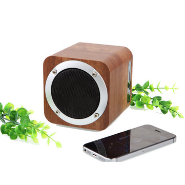 Portable Wooden Bluetooth Stereo Speaker Super Bass Subwoofer Support FM TF Card U Disk Soundbox