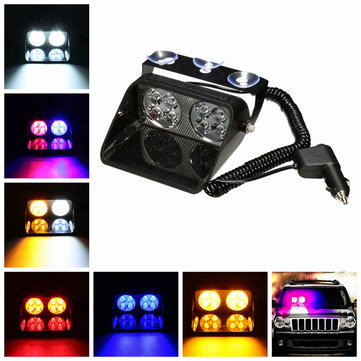 Car Truck Dash Windshield 8 LED Warning Hazard Emergency Strobe Flashing Light