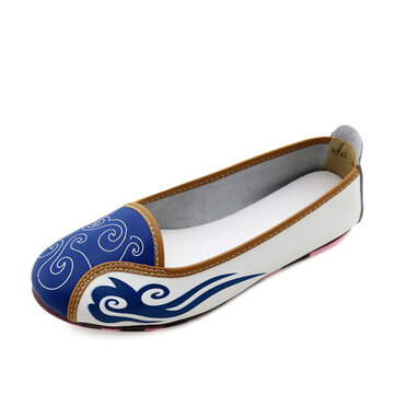 Women Summer Soft Comfortable Casual Outdoor Leather Slip On Flat Loafers Shoes