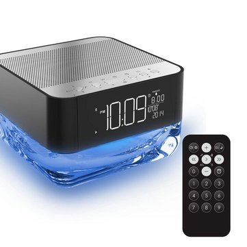 Portable Wireless Bluetooth Speaker With Clock Alarm Enhanced Bass Radio For iPhone iPad Tablet