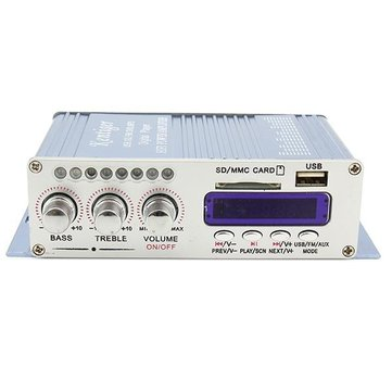HY502 Blue 12V 40W Hi-Fi LED Car Stereo Amplifier