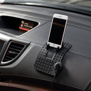 Non-Slip Car Pad Support Magnetic Dashboard Stand 8 Pin USB Cable Mount Charger Holder For iPhone Samsung GPS