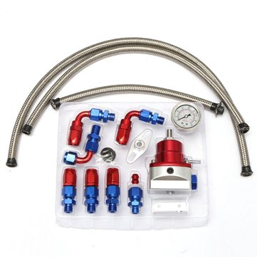 Universal Adjustable  Fuel Lines Hose Fuel Pressure Regulator Oil-Filled Gauge Fitting Kits Car