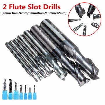2-12mm Solid Carbide End Mill 2 Flute Slot Drills 2/3/4/6/8/10/12mm End Mill Cutter CNC Tool