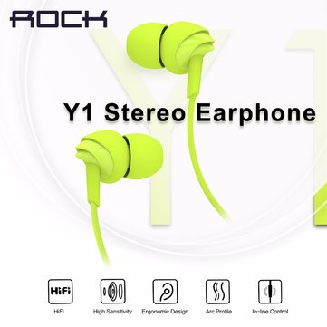 Rock Y1 Stereo 3.5mm With Mic  In Ear Headset Wire Drive Earbuds Earphone For iPhone Samsung