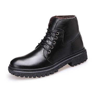 New Men Winter Casual Keep Warm Cotton Plush Leather High Top ...