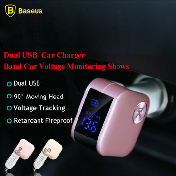 BASEUS Dual USB Car Charger Vehicle Smart Charger Voltage Monitoring Shows For iPhone iPad Samsung