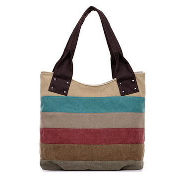 Women Canvas Stripe Tote Bags Casual Shoulder Bags Vintage Capacity Shopping Bags