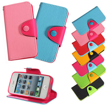 TPU GEL PU Leather Wallet Flip Case Stand Cover For iPhone 4 4S