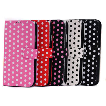 Fashion Wave Point Design Stand Function Flip Case For iPhone 5C