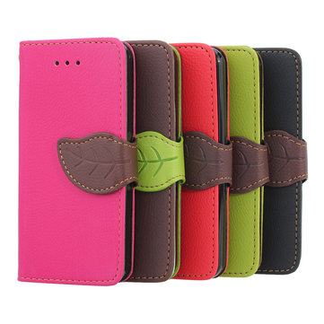 Leaves Button Wallet Design Folio PU Leather Case Cover For iPhone 5C