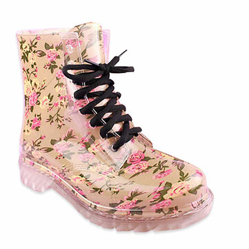Original Candy Colorful Crystal Clear Flat Heel Rain Boots