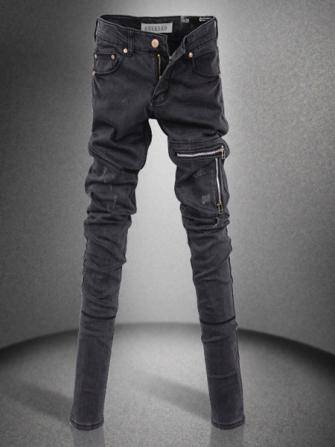 Women Slim Zipper Long Denim Pencil Pants Black Skinny Jeans - US