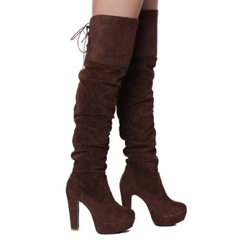 Women Over Knee Suede Stretch Thigh High Slouchy Stiletto High ...