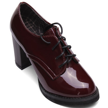Pointed Patent Leather Thick High Heel Ankle Women Boots Oxfords ...