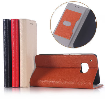 Flip Litchi Grain Genuine Leather Stand Case Cover For HTC One M9
