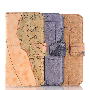 Map Pattern Flip PU Leather Case Cover For Samsung Galaxy S6 G9200