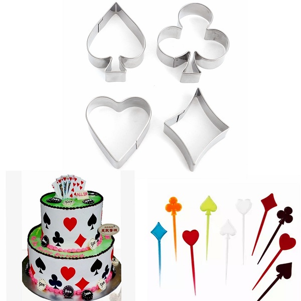 4 Pcs Poker Stainless Steel Cake Biscuit Pastry Baking