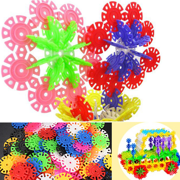 100Pcs Multicolor Snowflake Building Blocks Kid Educati