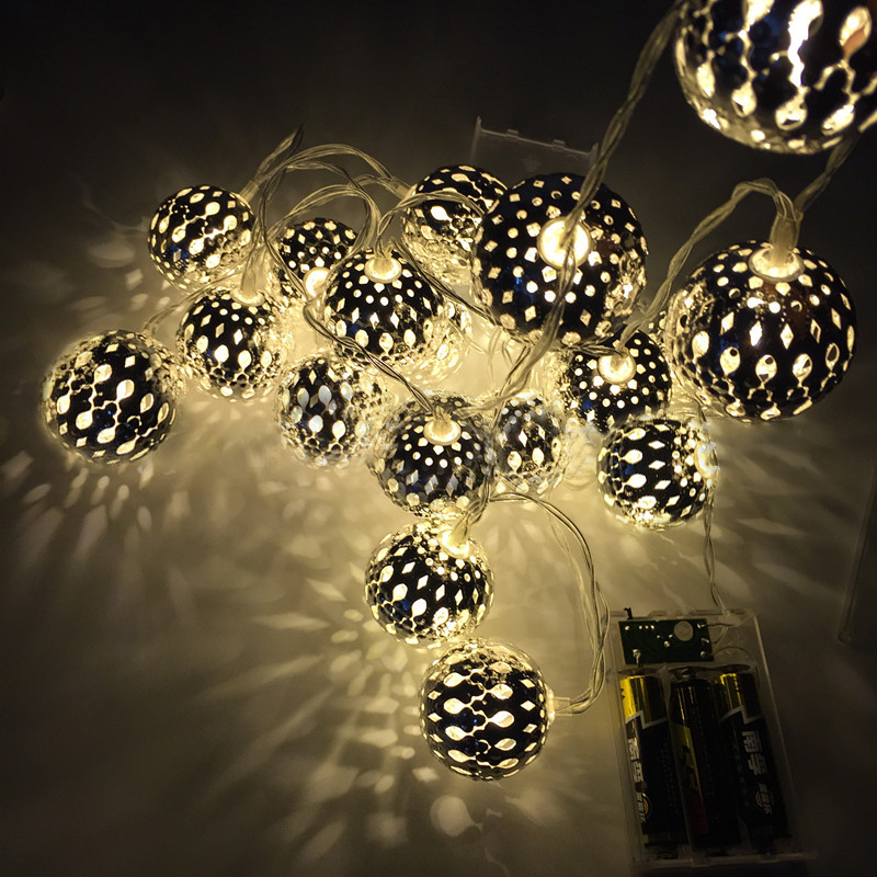 KCASA 2M 20 LED Metal Moroccan Ball String Lights LED F