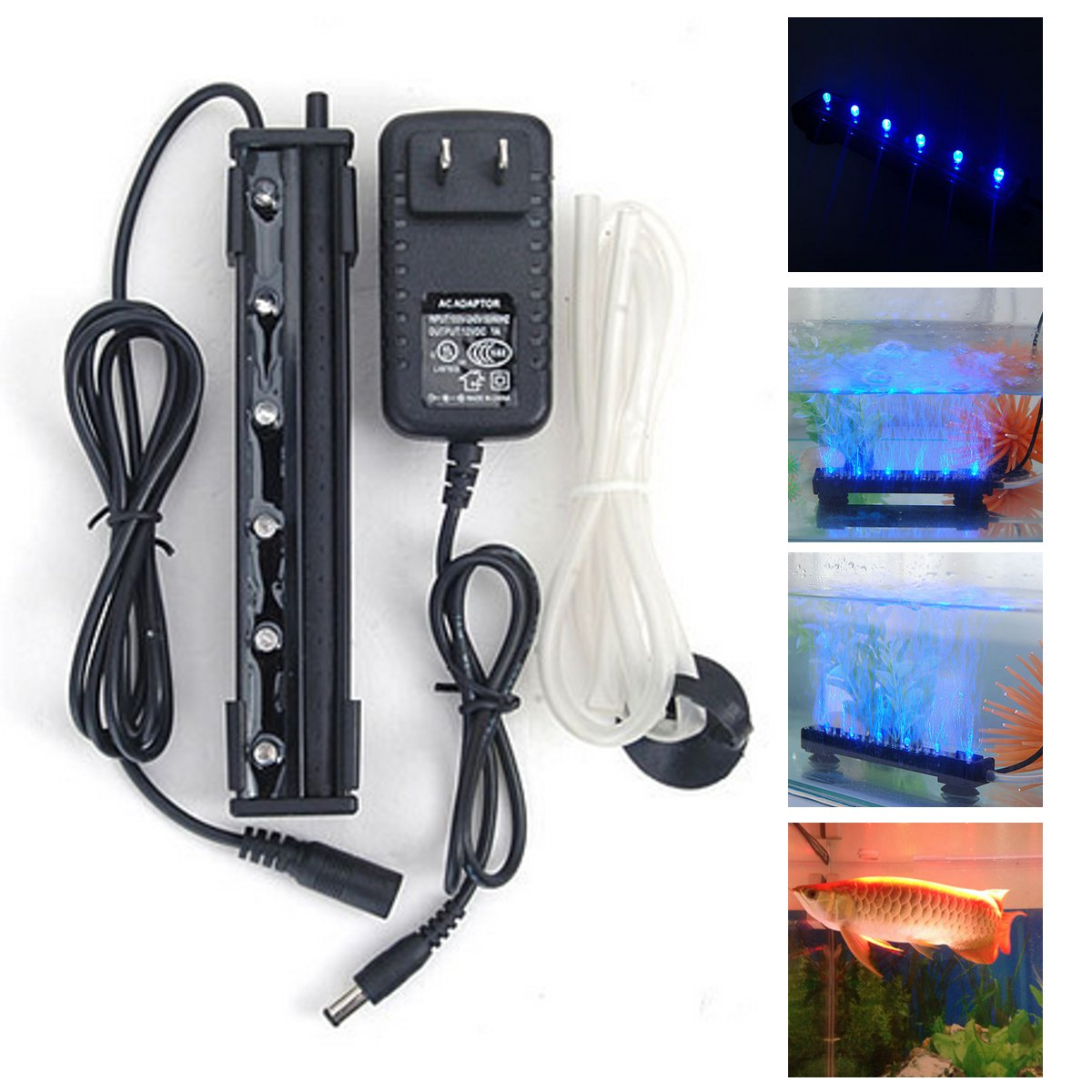 12V 1.2W 6 LED Blue Air Bubble Light Underwater Submers