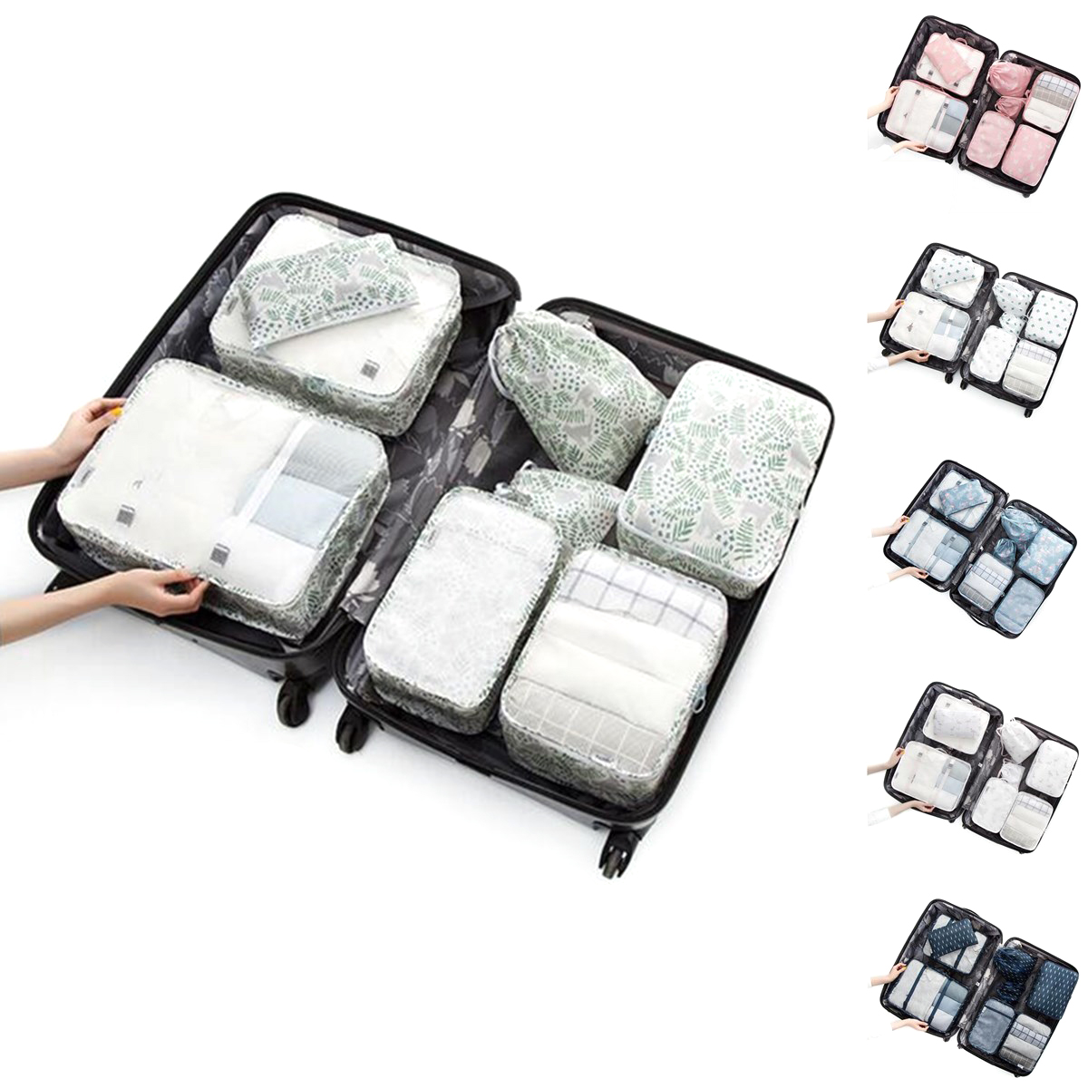 8PCS/Set Travel Luggage Organizer Storage Pouches Suitc