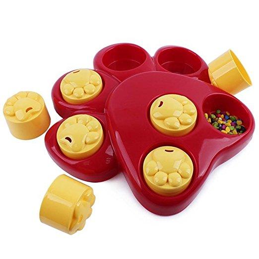 Multifunction Pet Bowl Feeder Toy 7 Holes Dog Paw Educational Training Toys Puppy Puzzle Toys